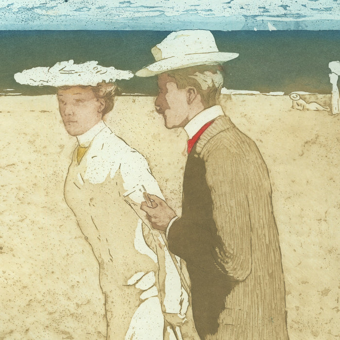Color aquatint - by DU GARDIER, Raoul - titled: On the Beach