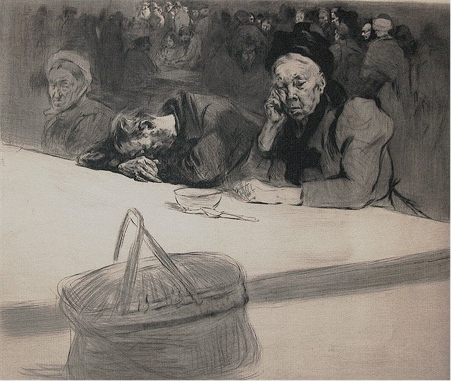 Edgar Chahine - Au Chateau Rouge - old woman at restaurant - Tabanelli 35 - drypoint
