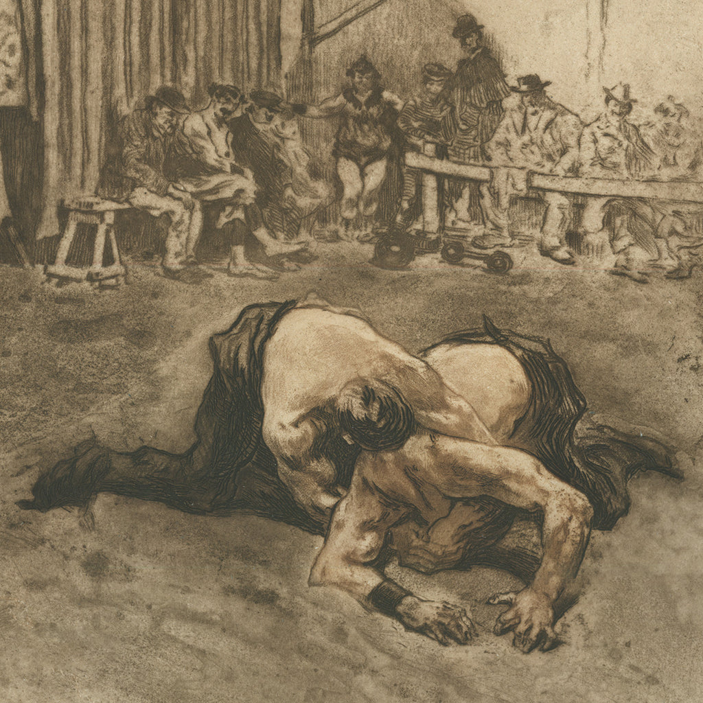 Edgar Chahine - Double Prise de Tete a Terre - headlock - street wrestling - Tabanelli 122 - soft ground etching and aquatint