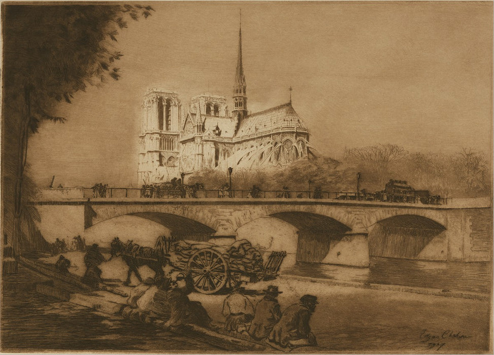 Edgar Chahine - LAbside de Notre-Dame de Paris - Church Apse - Tabanelli 265 - etching and drypoint
