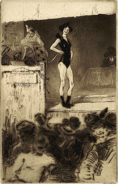 Edgar Chahine - LInvite apres la Parade - female performer - Tabanelli 97 - drypoint and aquatint