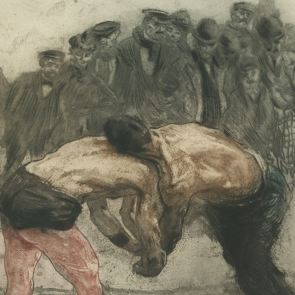 wrestlers artwork - wrestling art - etching by Edgar Chahine - Lutteurs Une Prise