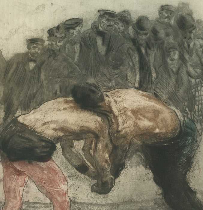 Color etching by Edgar Chahine - wrestlers artwork - wrestling art - Lutteurs Une Prise