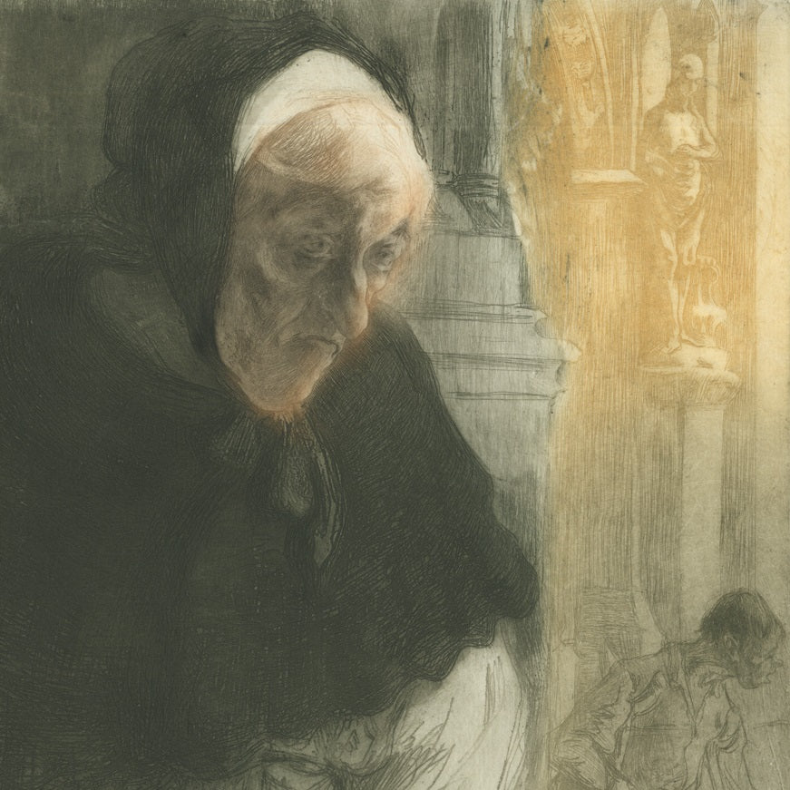Edgar Chahine - Vieille Mendiante a LEglise - female beggar at church - Tabanelli 53 - color soft ground etching and drypoint