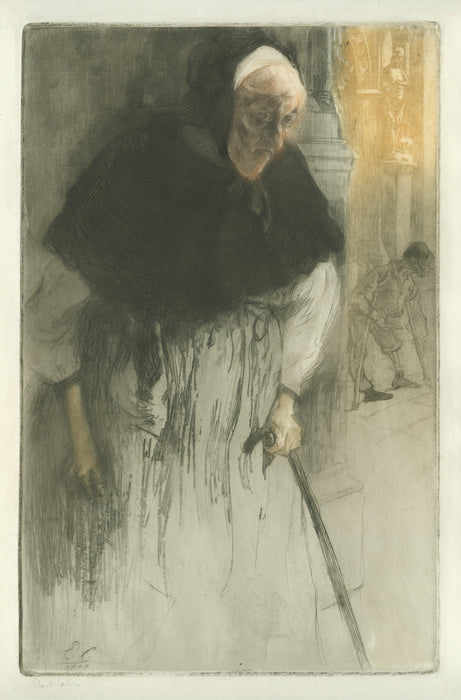 Edgar Chahine - Old Beggar at Church - main