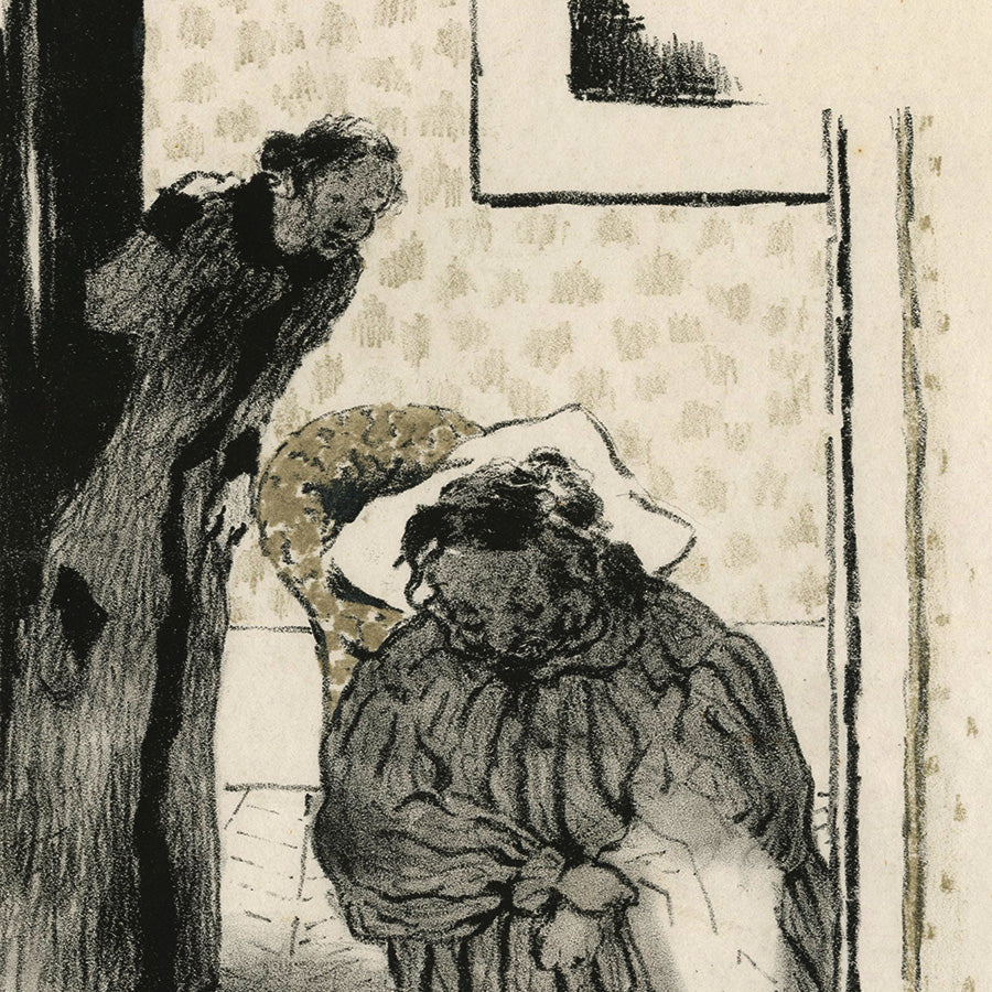 Edouard Vuillard - Sieste - Convalescence - lithograph of older woman in a chair - interior, muted