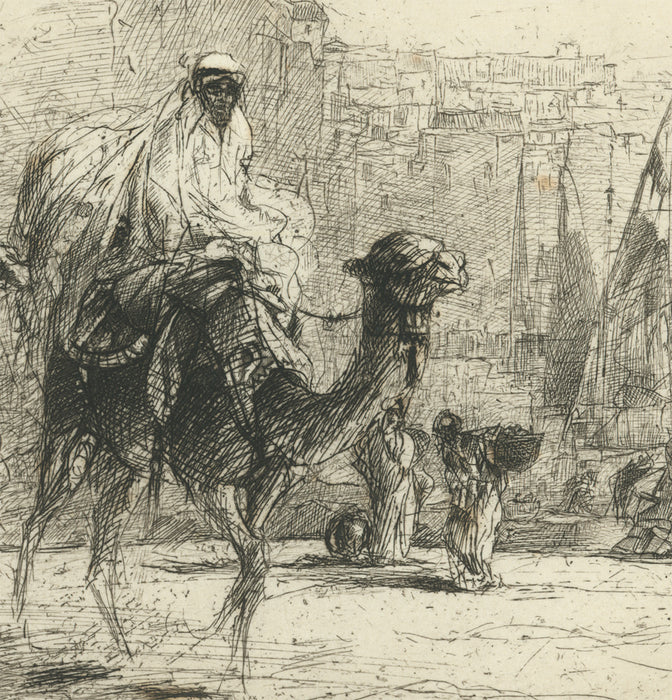 Edward Detmold - Caravan of Camels Reaching the Port Town - cityscape- etching