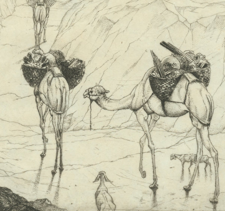 Etching - by DETMOLD, Edward Julius - titled: To the Promised Land