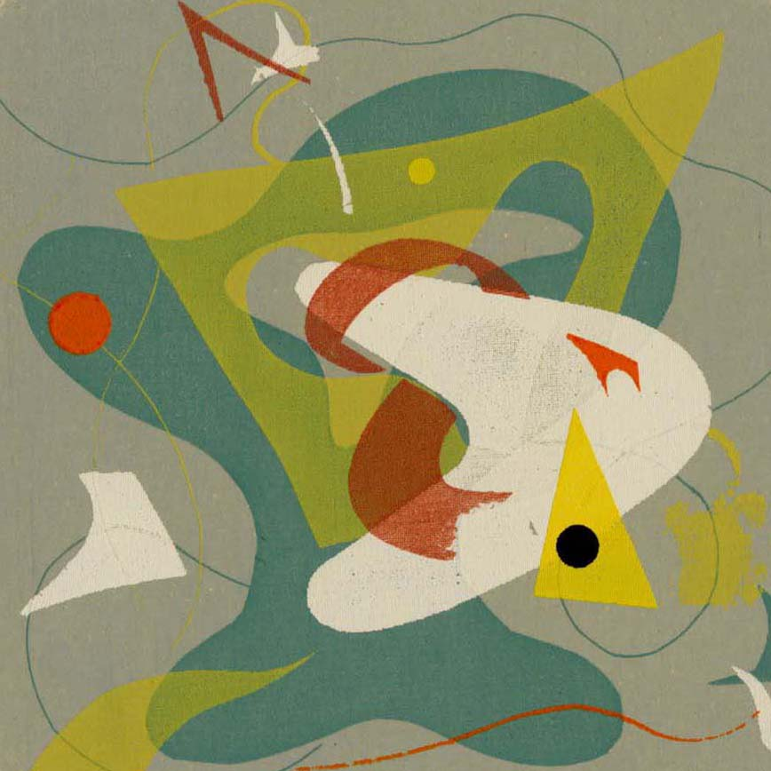 Edwin Fulwider - Abstract #1- color screenprint - curved shapes on gray background
