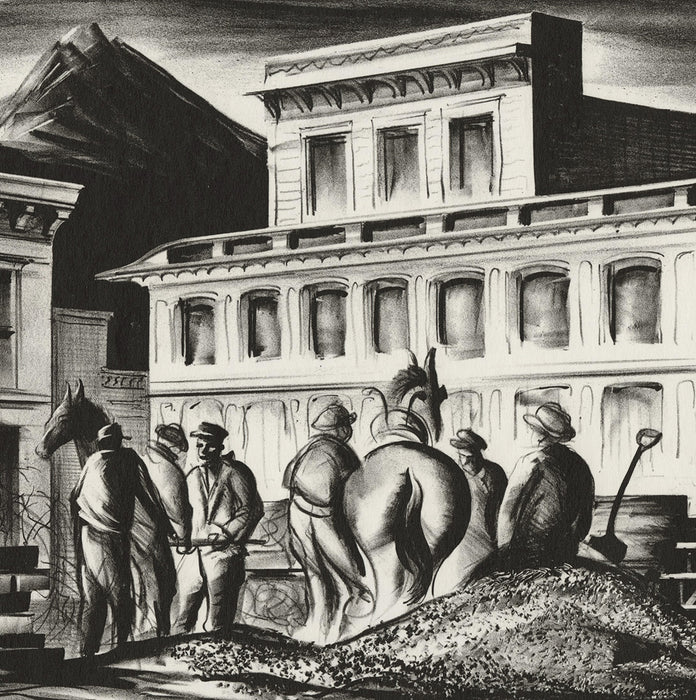 Edwin Fulwider - Empire Builders - lithograph - men and horses in west outpost railroad
