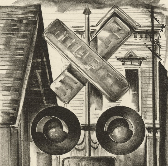 Edwin Fulwider - The Guardian - lithograph - railroad sign in small town