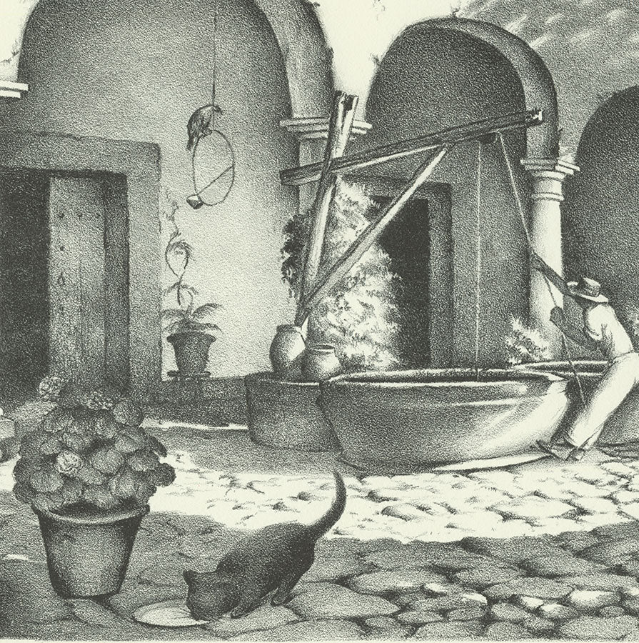 Ella Fillmore Lillie - Mitla Memento - Hacienda - water well - cat - detail