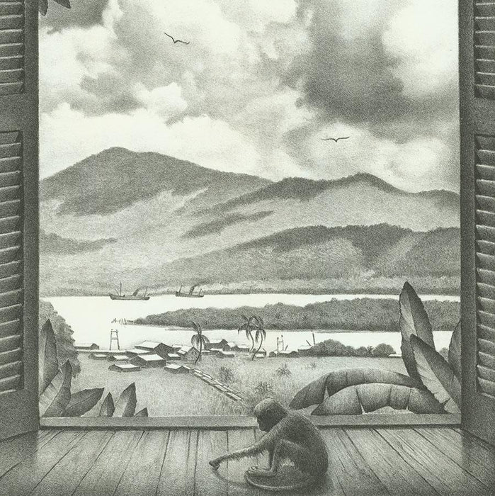 Ella Fillmore Lillie - View of La Boca Panama - Lithograph - monkey by window - detail