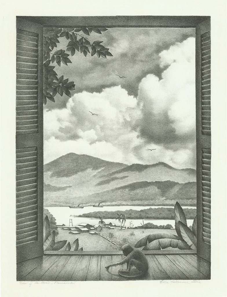 Ella Fillmore Lillie - View of La Boca Panama - Lithograph - monkey by window
