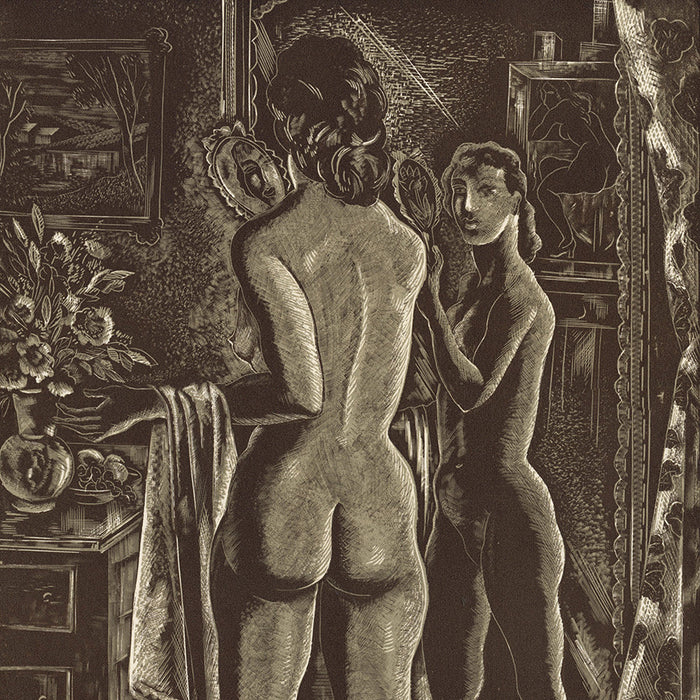 Emil Ganso - Studio Mirror - dual tone wood engraving - nude woman standing mirror - wide hip fetish art - detail1