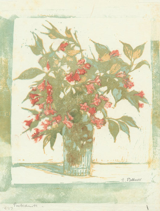 Color woodcut - by POTTNER, Emil - titled: Flowers in a Vase