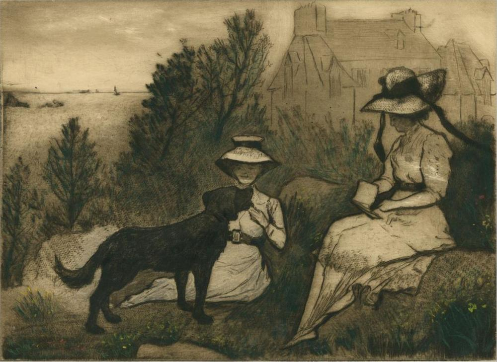 Emile-Jean Sulpis - Au Jardin - Two elegant women in garden - dog sea countryside - intaglio.jpg