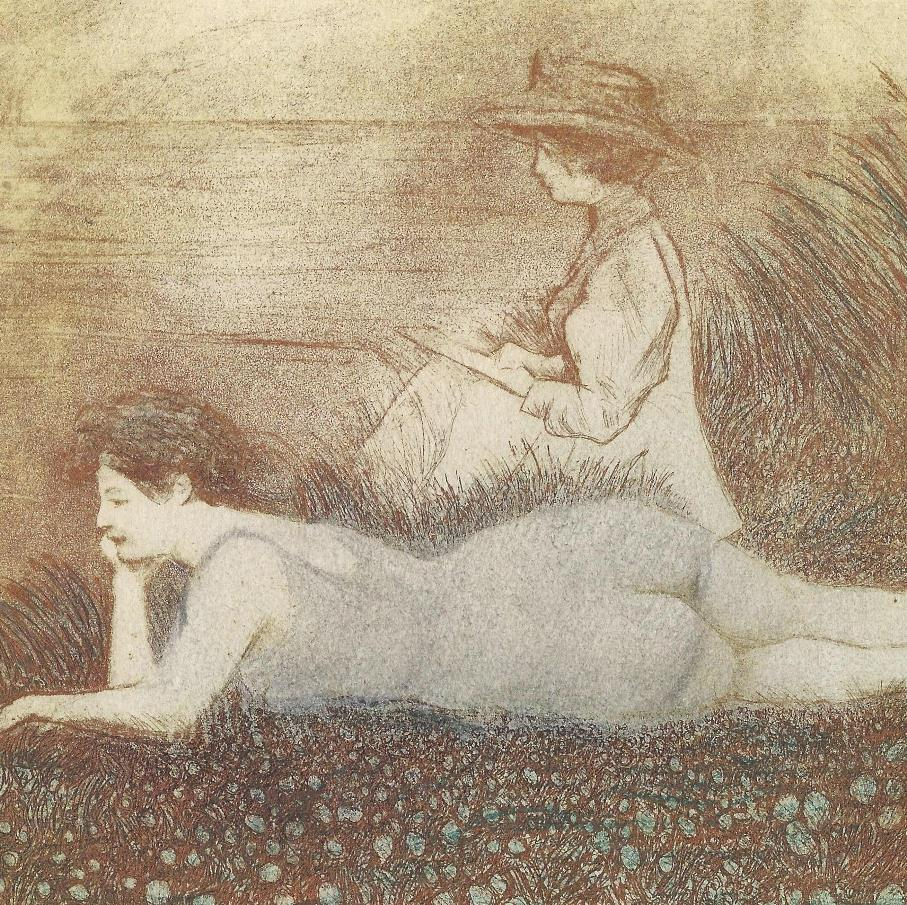 Emile-Jean Sulpis - Dolce Farniente dans la Dune - Women lounging in the meadow - elegant - recreation leisure - Etching and aquatint