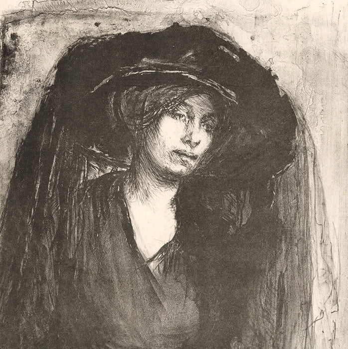 Ethel Gabain - Dueil - Mourning - orignal British crayon and ink wash lithograph - detail