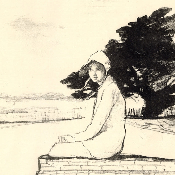 Ethel Gabain - The West Wind - lithograph of a woman sitting on a stone wall outside - detail