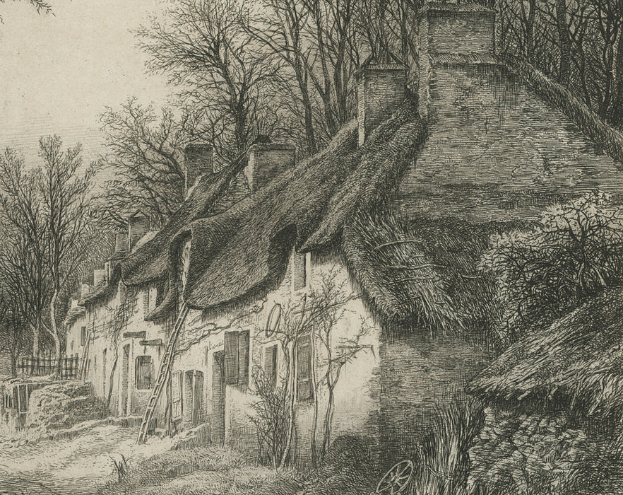 Eugene Blery - Les Chaumieres - etching - eau-forte - foret - forest - thatched roof - detail