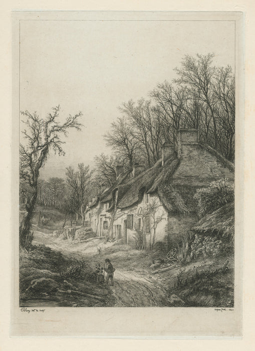 Eugene Blery - Les Chaumieres - etching - eau-forte - foret - forest - thatched roof