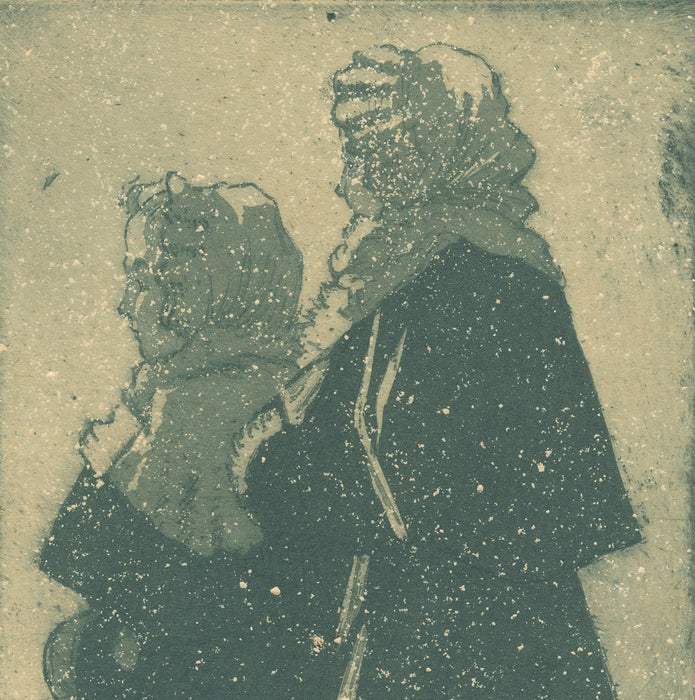 Color aquatint and etching - by DELATRE, Eugene - titled: Two Little Girls