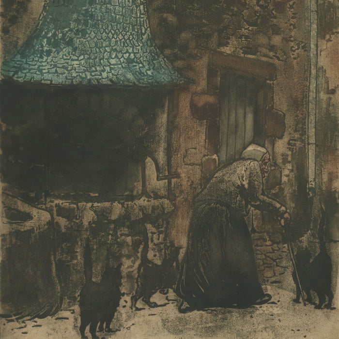 Eugene Delatre - Vielle Femme pres du Puis - old woman well - black cats - color aquatint - detail