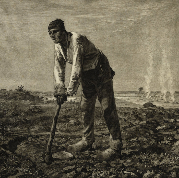 Felix Bracquemond - after Jean-Francois Mille - Labor - Le Paysan a la Houe - etching on parchment - detail1