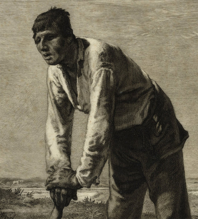 Felix Bracquemond - after Jean-Francois Mille - Labor - Le Paysan a la Houe - etching on parchment - detail2