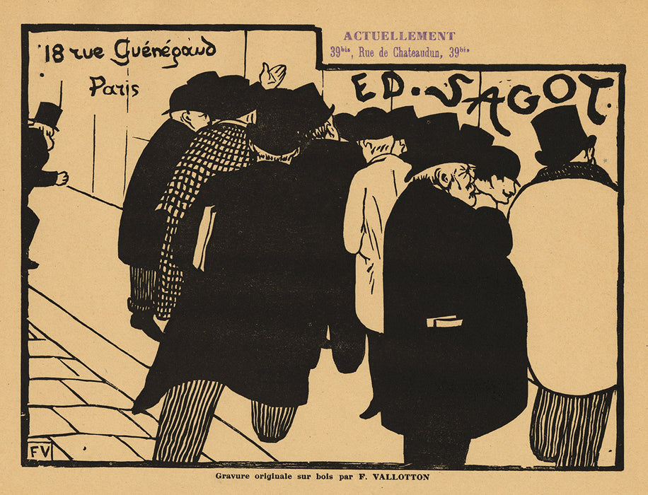 Felix Vallotton - Les Amateurs d'Estampes - Edmond Sagot - rue guenegaud - chateaudun due d'adresses - woodcut