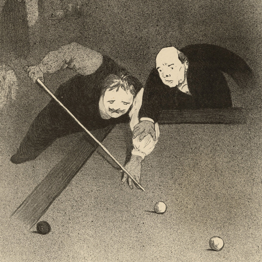 Félix Vallotton,  BIlliards, Les Raseurs, Lithograph, Paris, 1898., city life, Post-Impressionism.