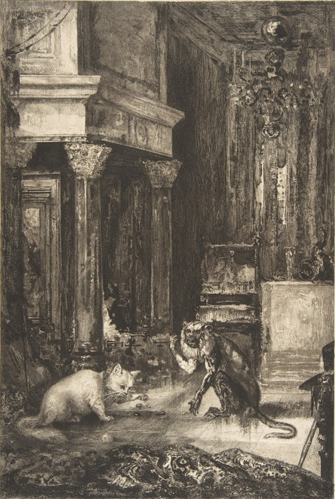 Etching and roulette - by BRACQUEMOND, Felix - titled: Illustrations for the Fables of Jean de la Fontaine