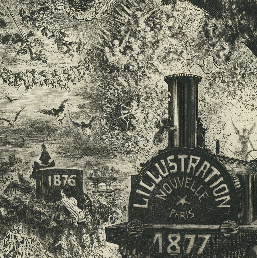 Felix Buhot - L'Illustration Nouvelle -  L'Enterrement du Burin - Funeral of the Burin - Edmond Cadart - Luquet - railroad 1877 - engraving - detail1