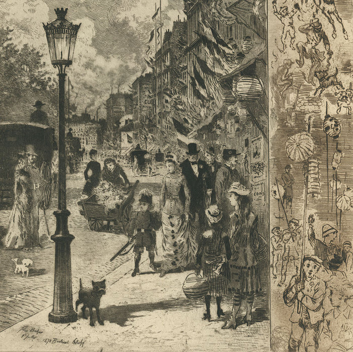 Felix Buhot - La Fete nationale au Boulevard Clichy - National Holiday - Bon a tirer - good to pull - printer's proof - detail1