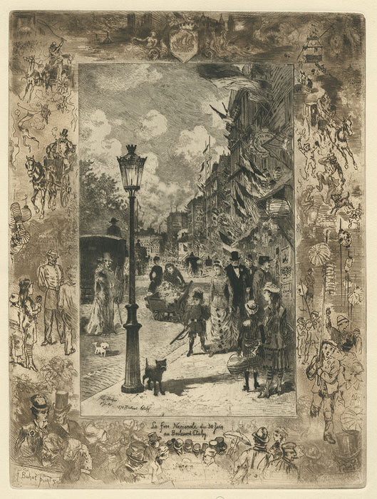 Intaglio - by BUHOT, Felix - titled: National Holiday on the Boulevard de Clichy
