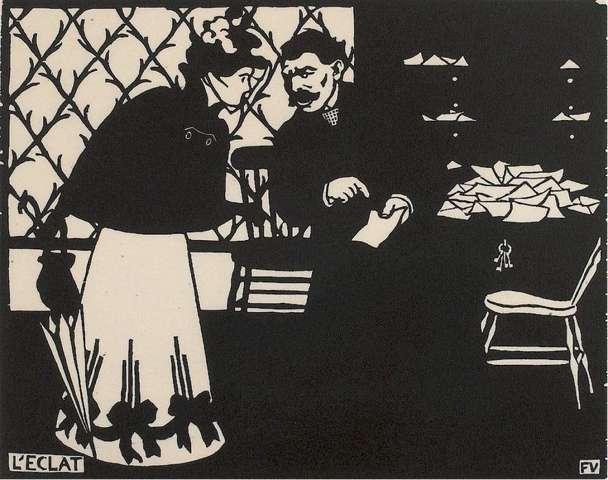 Felix Vallotton - L'Eclat - The Shard - black and white woodcut - couple discussing paper - interior - Vallotton & Goerg 199a