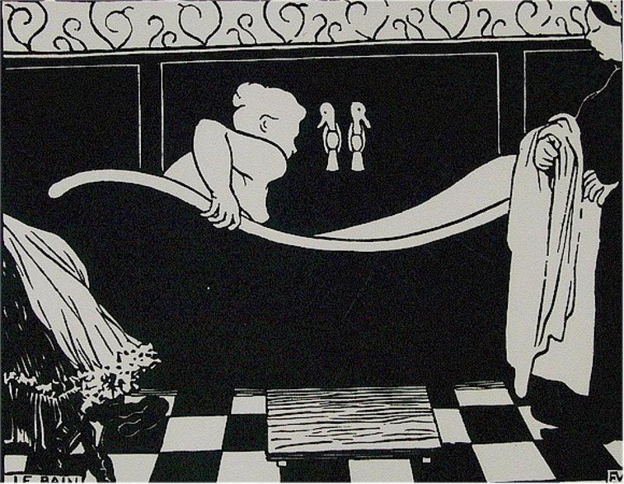 Felix Vallotton - Le Bain - black and white woodcut - Woman in the bath with maid - V.G. 148B