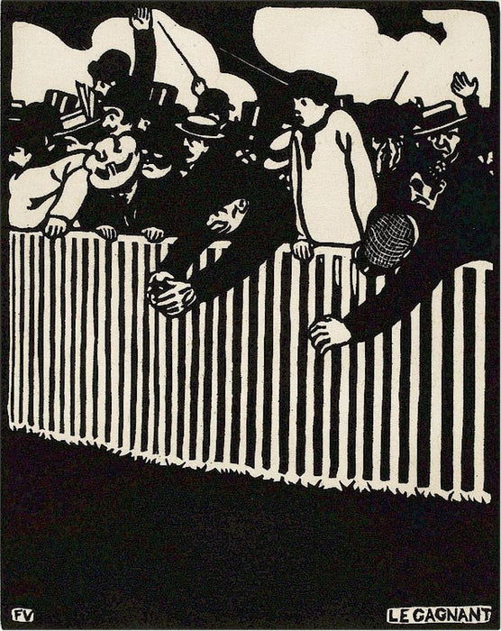 Felix Vallotton - Le Gagnant - The winner - crowd racing - woodcut black and white