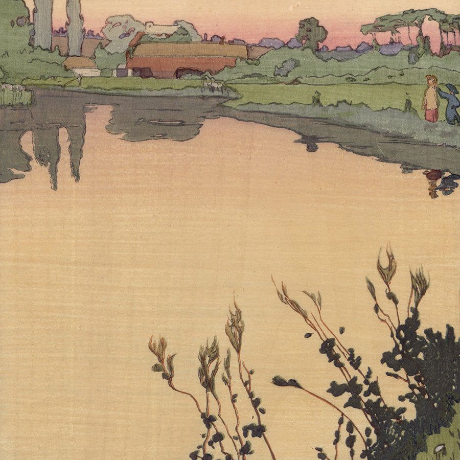 Frank Morley Fletcher - Meadowsweet - Japonist color woodcut - detail