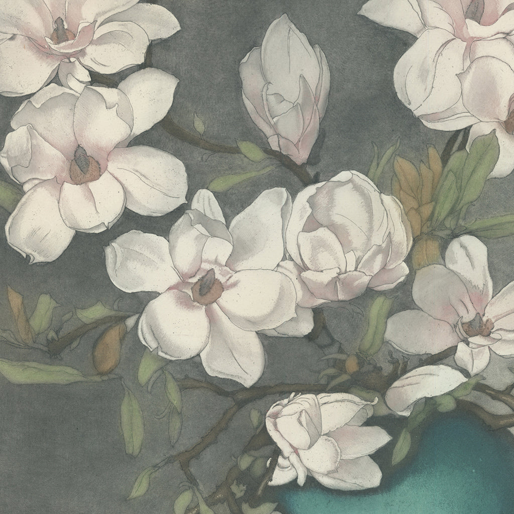 Frans Everbag - Magnolia Branches in Blue Vase - color intaglio - detail