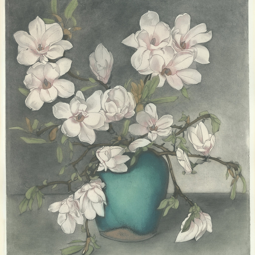 Frans Everbag - Magnolia Branches in Blue Vase - color intaglio