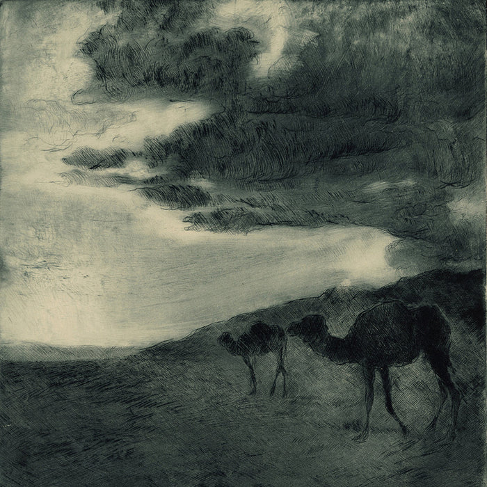 Fried Pal - Camels in the Desert at Dusk - etching aquatint - orientalism - detail
