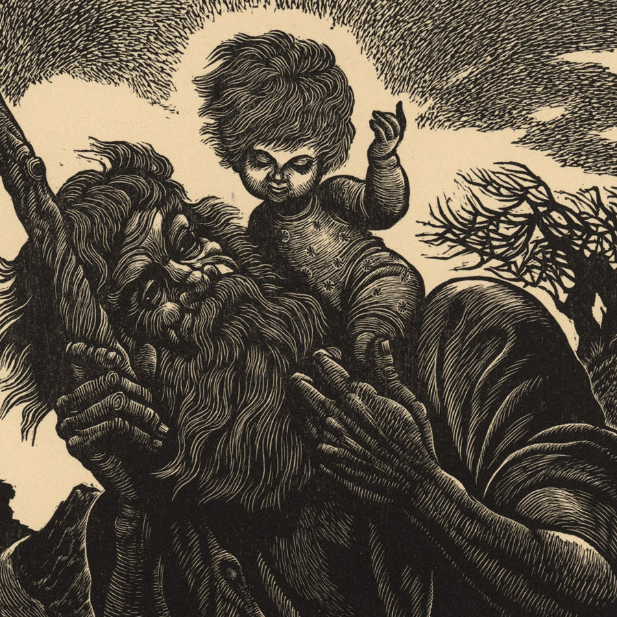 Fritz Eichenberg - St Christopher - Saint Christophe - Jesus on shoulders, 1949 - original wood engraving - detail