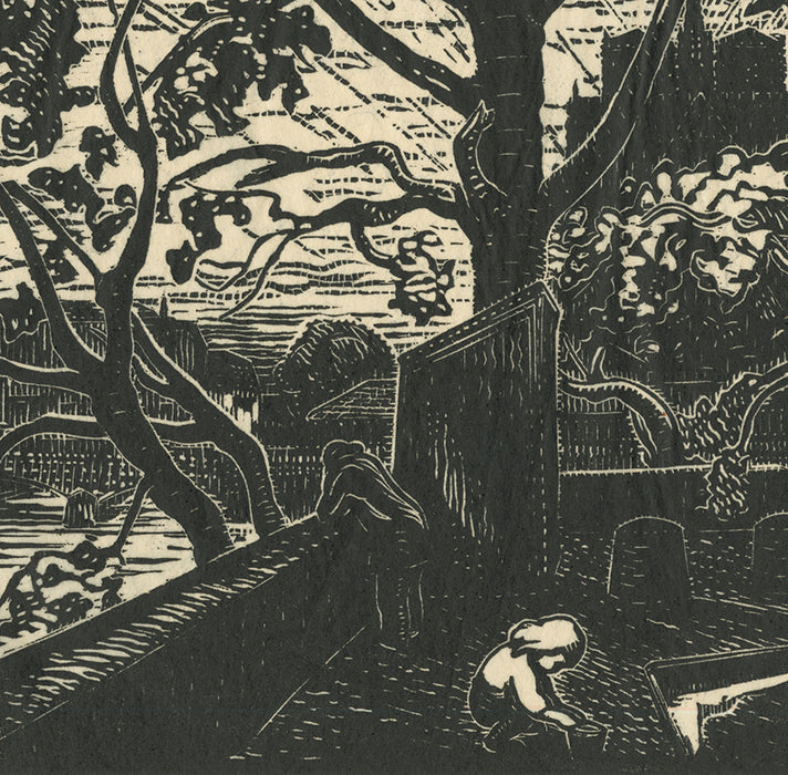 Woodcut - by BELOT, Gabriel - titled: The Sandbox