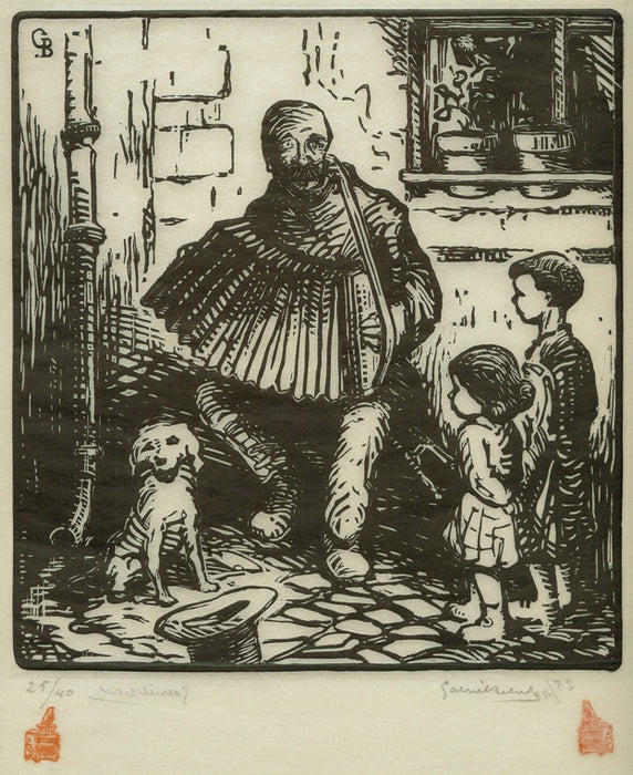 Woodcut - by BELOT, Gabriel - titled: The Accordion Player