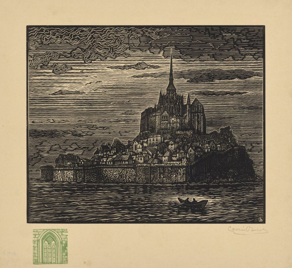 Gabriel Belot - Mont-Saint-Michel - with remarque gothic window - woodcut.jpg