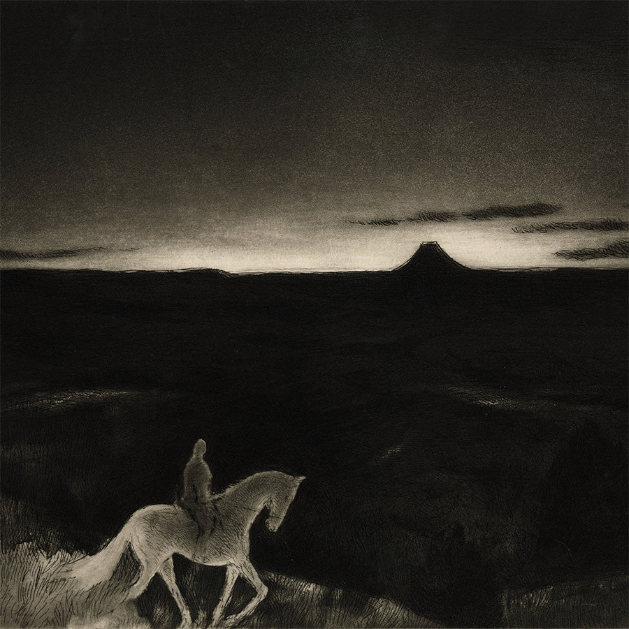 Gene Kloss - Sundown - etching and aquatint - rider at night in desolate western landscape - detail1