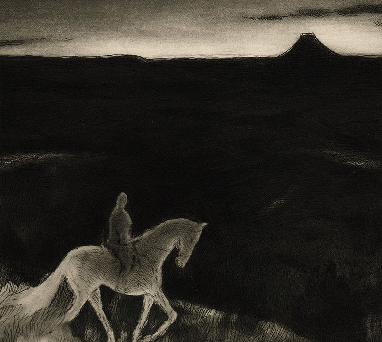 Gene Kloss - Sundown - etching and aquatint - rider at night in desolate western landscape - detail2