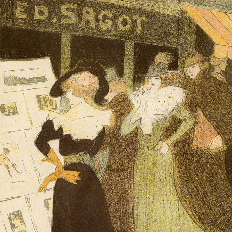 George Bottini - La Vitrine de Sagot - Adresse Sagot - Edmond Sagot - color lithograph - detail